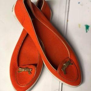 Tory Burch Orange Dakota Women's Canvas Flats Gold
